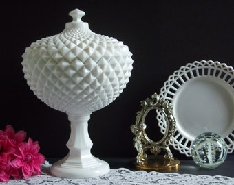 """Westmoreland Sawtooth Milk Glass Compote - Grandfather Sawtooth Compote - Westmoreland Grandfather Milk Glass Compote - Very Large 14"""" Tall"""