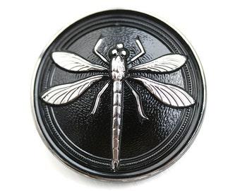 31mm Silver Dragonfly Czech Glass Button, Black Handmade Button bead, size 14, 1pc - 0778