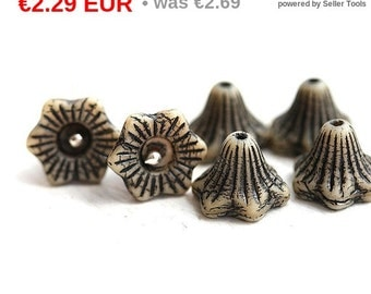 ON SALE Flower Bell beads - Rustic Black and Beige - czech glass beads, 13mm, large - 6Pc - 1430
