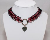 Chainmaille Choker Collar Silver Heart Necklace Black and Red