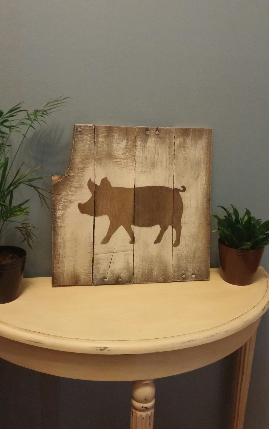 Pig picture pallet wood sign kitchen decor hog by trishawatson Pig kitchen decor