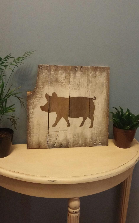 Pig Picture Pallet Wood Sign Kitchen Decor Hog By Trishawatson: pig kitchen decor