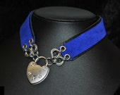 Leatherwear Collar/Choker in black leather & blue suede with stainless steel chainmail