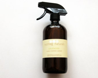 Lavender glass + mirror cleaner, natural cleaning spray, 16 fl oz. Aromatherapy cleaning w/essential oils. Made with lavender essential oil.