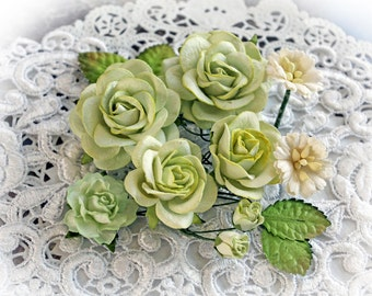 Reneabouquets Roses And Leaves Flower Set-Mulberry Paper Flowers - Spring Green And Ivory  Set Of 13 Pieces In Organza Storage Bag