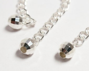 2 - 2.5 inch 925 Sterling Silver Extender with 4mm Mirror Bead - 3 pcs
