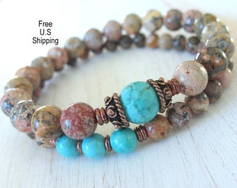Set of 2 Yoga bracelets, Turquoise, Leopard Jasper, Yoga Bracelet, Meditation, Mala bracelet, wrist Mala, Turquoise bracelet, Jasper Mala