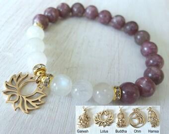 Balance & Change, Moonstone, Lepidolite, gemstone bracelet, Yoga Bracelet, Om bracelet, lotus bracelet, buddha bracelet, Ganesha mala