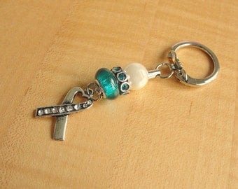 Teal and White Awareness Key Chain - Cervical Cancer