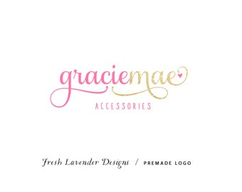 Custom Logo Design Premade Logo and Watermark for Photographers and Small Businesses Twon Toned Script with Glitter and Heart Whimsical