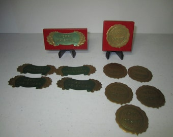 2 Antique boxes of 1910's 1920's Gibson embossed gold gilded die cut Christmas seals, merry christmas w/ holly berry, stamped wax seal look