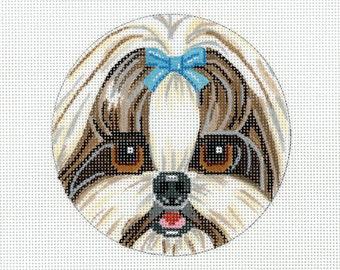 Hand Painted Needlepoint Dog Canvas - Shih Tzu  Face Purse