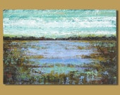 large abstract painting, turquoise and lavender, marsh landscape, pond, 24x36, Enchanted Pond