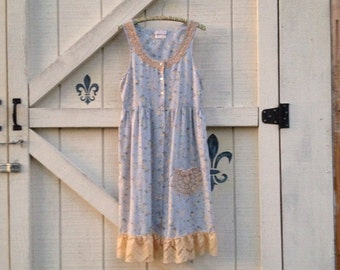 Bohemian dress, S, boho chic, Beach casual romantic, upcycled clothing Shaby Vintage