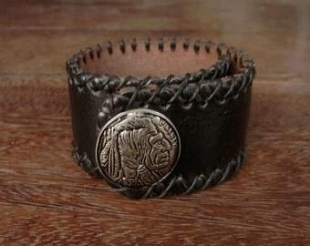 Native american stud Leather Cuff Bracelet // rustic // rivet // rusty // navajo // American Indian // havana brown