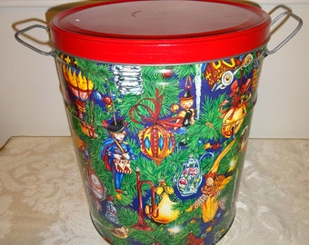 Vintage Tin Large Christmas with Handles Trash Can Storage Tin Holiday Decor