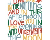 I Love You In The Morning... - 8x10 hand drawn and hand lettered bright color print on white background