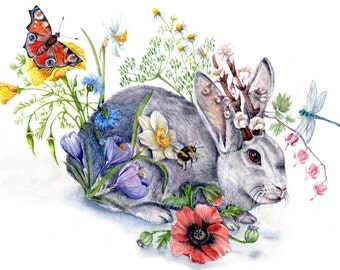 "Spring Jackalope - Original Watercolor  - 9""x12'' -  Nursery baby shower Whimsical cottage, Easter, bunny jack the rabbit antelope flowers"