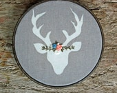 Embroidered Deer, Woodland Decor, Stag, Embroidery Hoop Art, Floral Embroidery, Flower Crown, Rustic Gift, Woodland Deer, Woodland Nursery