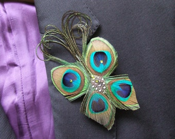 """Peacock Feathers & Crystals """"Dot"""" Wedding Boutonniere Lapel Pin- Woodland Rustic Wedding Theme Ideas Groom Best Man or Fascinator Bag Clip"""