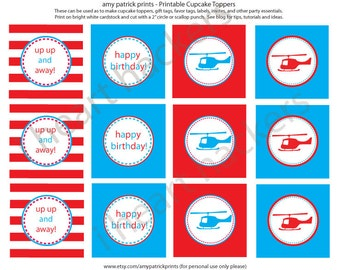 Printable Cupcake Toppers - Helicopter Party - INSTANT DOWNLOAD -  amy patrick prints