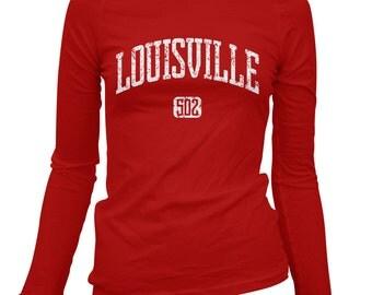 Women's Louisville 502 Long Sleeve Tee - S M L XL 2x - Ladies' Louisville T-shirt, Kentucky - 4 Colors