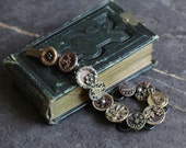 Antique Button Bracelet, Victorian metal picture, 1800's