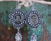 Memento Earrings, gem tin...