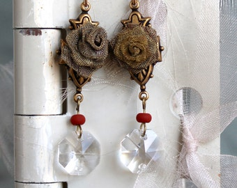 Antique Button Earring and crystal assemblage, vintage, jewelry, repurposed recycled, up cycled, victorian,
