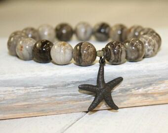Starfish Bracelet, Gray Stretch Bracelet, Silver leaf jasper, 10mm, Gray stone bracelet, Gray stacking bracelet, Rustic Gemstone Bracelet