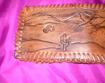 billfold wallet christmas desert mountain leather brown pigskin leather lacing six pockets hand made