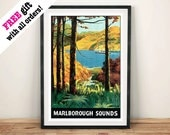 MARLBOROUGH SOUNDS POSTER Vintage Travel Advert New Zealand Lake Art Print Wall Hanging