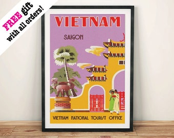 VIETNAM TRAVEL POSTER: Vintage Saigon Advert, Art Print Wall Hanging, Purple (A4 / A3)