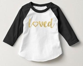 Loved Raglan Baseball Tee Shirt. Toddler Baby Kids Child. Gold Glitter Heart Design. Great gift.
