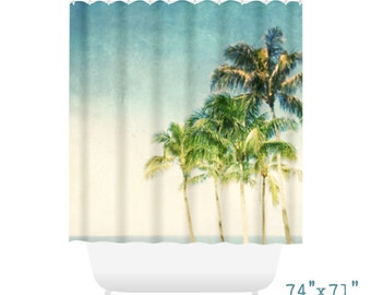Palm Tree Shower Curtain for Beach Bathroom Decor