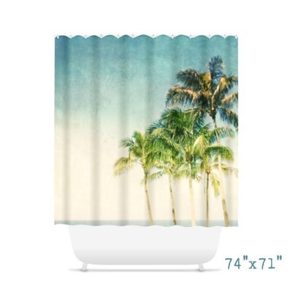 Palm tree shower curtain for beach bathroom decor for Palm tree bathroom ideas