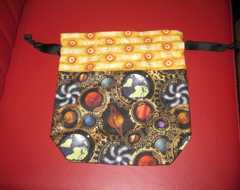 Knitting or Crochet Project Bag - Small/Sock Sized - Steampunk Universe