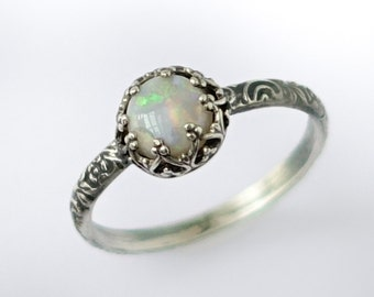 Natural Opal Birthstone Ring, Sterling Silver Pattern Band with Genuine Opal, Natural Opal Ring, Vintage Style Ring, Antique Style Ring