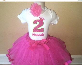 ON SALE Birthday Hot Pink Princess Crown Personalized Shirt Tutu Headband Set - ANY Age
