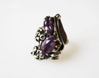 Vintage Amethyst Sterling Silver Leaf Ring / Adjustable Size