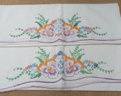 RESERVED for Caroline ~  Embroidered Pillow Cases  ~  Floral Embroidered Standard Size Pillow Cases  ~  Mid Century Embroidered Pillow Cases