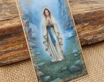 Our Lady of Lourdes Porcelain Holy Card  ~  By Artist Hector Garrido First Issue in the Blessings of Our Lady Porcelain Holy Card Collection