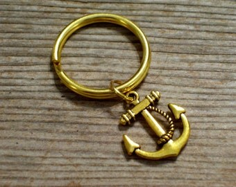 Gold Nautical Anchor Keychain, Sailor Key Chain, Father's Day Gift Idea, Gold Plated Twist Rope Ship Anchor Charm Key Ring