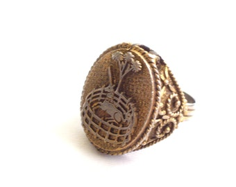 Unicorn Locket Ring, Vintage Unicorn Ring, Corday Unicorn Perfume Locket Statement Ring, Gold Plated Adjustable Ring