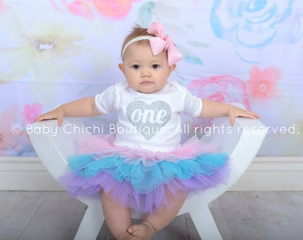 First birthday outfit girl Silver and Pastel birthday 1st Birthday outfit girl Tutu birthday outfit Pink Silver Turquoise Purple birthday
