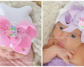 Newborn Hat Little Sister (newborn girl hat, newborn beanie,lil sis hat, newborn hospital hat with bow, little sister hat)
