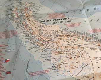 Vintage National Geographic Map - Antartica - 1957