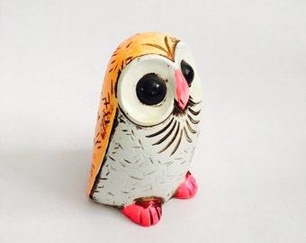 Vintage 1960s Plaster Owl Bank - Made in Japan - 60s MOD