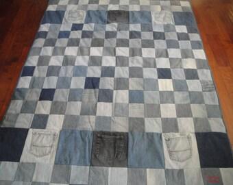 Blue Jean Quilt with Powder Blue Fleece