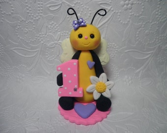 Personalized Baby Girl's First Birthday Bumble Bee Cake Topper,Gift,Keepsake